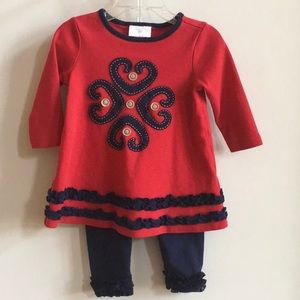 Hanna Andersson Red Navy Appliqued 2pc Set 18-24mo